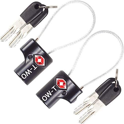 OW-Travel Candado de Cable con Llave TSA, Cable Acero Plastificado. Candado para Taquilla. Candados para mochilas y maletas. Candado Taquilla Gimnasio. TSA Candado Seguridad cable con Llaves Negro 2