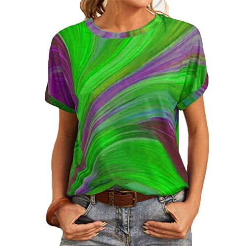 SLYZ Verano De Las Mujeres Nuevo Código Europeo Suelto Color De Impresión Pullover Cuello Redondo De Manga Corta Camiseta De Las Mujeres Top
