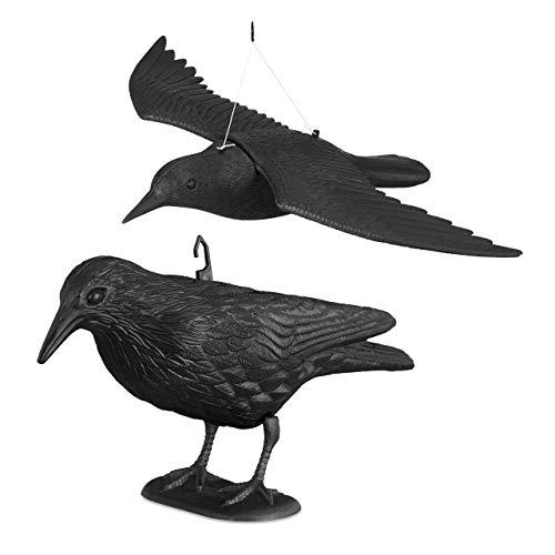 Relaxdays 2X Taubenschreck Krähe, Dekofigur als Vogelscheuche, stehende und Fliegende Figur für Taubenabwehr, Gartenfigur, schwarz