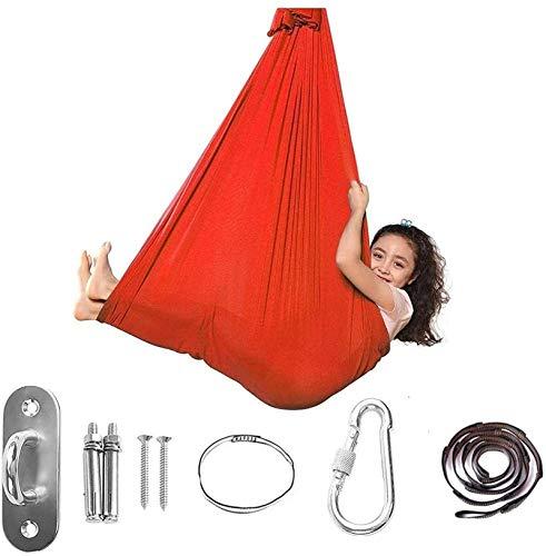 Columpio terapéutico para niños y jóvenes, hamaca suave y acogedora para colgar, cama para niños, yoga, integración sensorial, camping al aire libre, color rojo