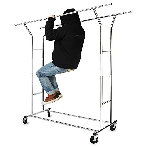 330 lbs Load Capacity Commercial Grade Clothing Garment Racks Heavy Duty Double Rails Adjustable Collapsible Rolling Clothes Rack on Wheels Chrome Finish