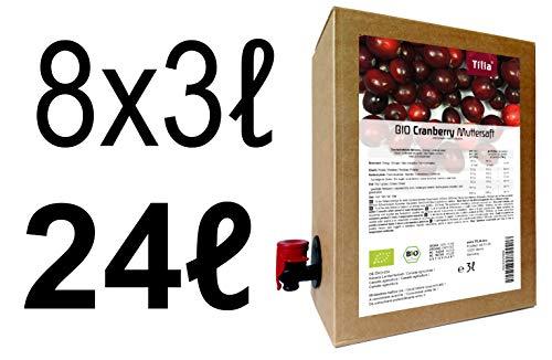 BIO Cranberry Muttersaft - 100% Direktsaft (24 Liter ( 8 x 3 Liter ))