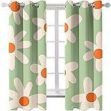 ZLQBed Cortinas Opacas Margaritas Flores Cortinas Aislantes Térmicas con Ojales para Salon Dormitorio Oficina Habitacion, 2 Paneles, 150x166cm