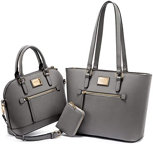 Purses for Women Fashion Handbags Tote Bag Shoulder Bags Top Handle Satchel Purse Set 3pcs Grey product image
