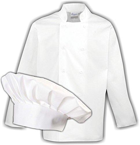 ShirtInStyle Set de regalo para Cocineros chaqueta y gorro de chefOpcional con sus Texto deseado individual - Blanco, XX-Large