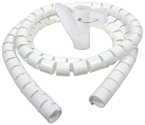 Bambelaa! Kabelschlauch 1,5m 3,0m Kabelkanal kürzbar Kunststoff flexible Kabelorganisation 20mm 30mm Durchmesser (Weiß, 1,5m x 30mm)