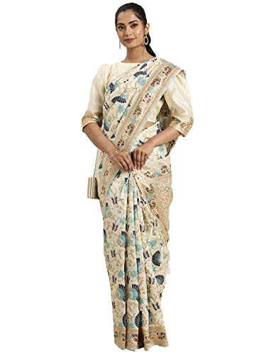 Inddus Women's Multocolored SilkBlend Woven Design Saree With Unsttitched Blouse (IND-BU-5505_Off White & Blue)…