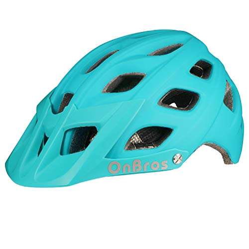 OnBros Mountain Bike Helmet for Adults, MTB Bicycle Helmets with Sun Visor, Lightweight Cycling Helmets for Women and Men, CPSC Certified (Blue)
