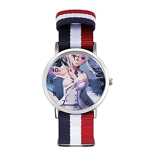 Re Zero Uhr Glas Spiegel Skala Geflochtene Gürtel Uhr Casual Geeignet für Büro Schule Männer und Frauen Geschenk