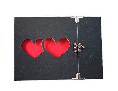 MINGZE Álbum de Fotos Recuerdos de la Vendimia para la Boda, Compromiso, Baby Shower, Cumpleaños,Regalo del Dia de la Madre (Doble corazón Negro)