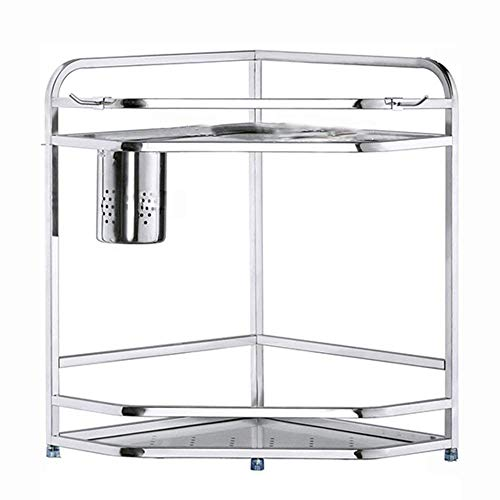 LHQ-HQ 304 Stainless Steel Kitchen Corner Shelf, 2 Layers Of Silver Tool Holder And Shelf Storage Shed, 290 * 290 * 400mm save space trolley