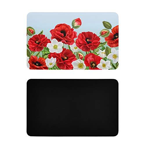 Imanes Cuadrados para refrigerador para imágenes Borde Floral Horizontal Amapolas Rojas Flores Adhesivas Imanes Personalizados PVC Imanes Divertidos Accesorios Divertidos de Cocina 4x2.5 Pulgadas