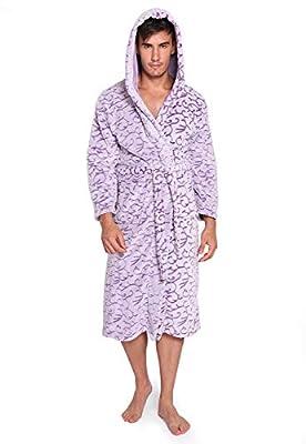 Vislivin Plush Mens Robe Long Bathrobes Hooded