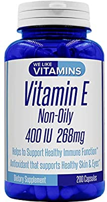 Vitamin E 400IU 200 Capsules Non-Oily Vitamin E Complex Powder Capsules for Antioxidant Support of Healthy Eyes, Skin, and Hair