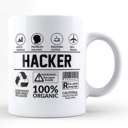 N\A Taza Divertida del Sarcasmo Pirata informático/para sí Mismo para el Amigo Colega compañero de Trabajo Amante del café Hacker Vecino Taza de café Blanca por Hom
