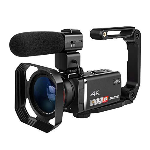 Videocamera 4K ORDRO AX60 professionale Livestream con zoom ottico 12x 3,5 pollici IPS HD 1080P 60FPS 4K HD Videocamera con microfono, obiettivo grandangolare, supporto per mano