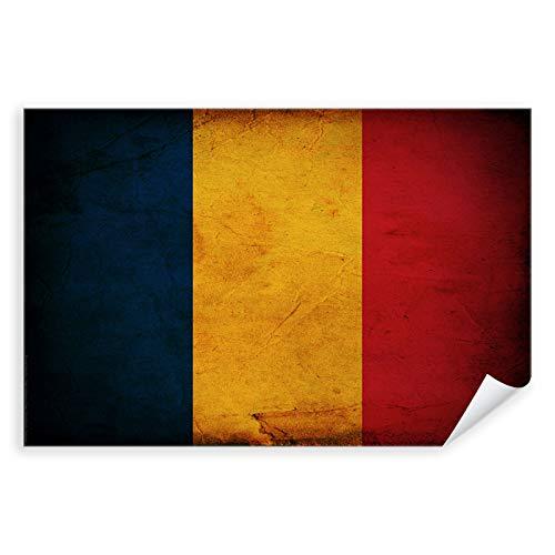 Postereck - 0313 - Vintage Flagge, Fahne Rumänien Bukarest - Unterricht Klassenzimmer Schule Wandposter Fotoposter Bilder Wandbild Wandbilder - Leinwand - 100,0 cm x 75,0 cm