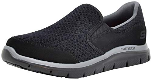 Skechers for Work Women's Gozard Slip Resistant Walking Shoe, Black/Charcoal 7.5 M US