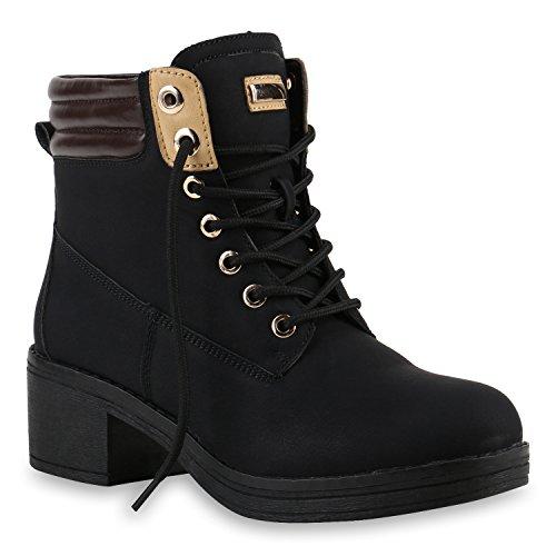 stiefelparadies Damen Outdoor Schnürstiefeletten Worker Boots Schuhe 144535 Schwarz Berkley 37 Flandell