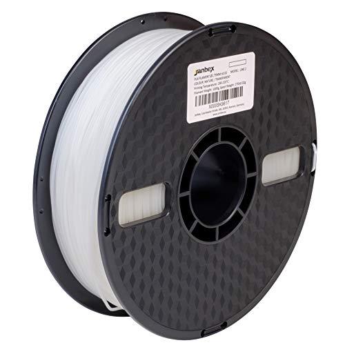 Janbex, filamento di PLA, spessore: 1,75 mm, bobina da 1 kg, per stampanti o penne 3D, fornito in confezione sottovuoto , trasparente, 1