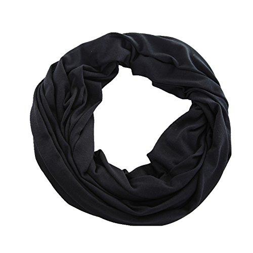 Miobo Jersey Damen/Herren dünner Loopschal Snood Schlauchschal Rundschal in vielen schönen Uni-Farben Schwarz
