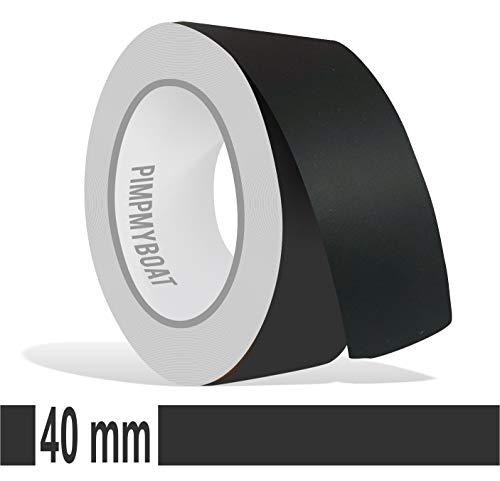 Siviwonder Zierstreifen schwarz matt in 40 mm Breite und 10 m Länge Folie Aufkleber für Auto Boot Jetski Modellbau Klebeband Dekorstreifen Mattschwarz