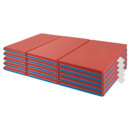ECR4Kids Premium 3-Fold Daycare Rest Mat, Blue and Red, 2' Thick (5-Pack)