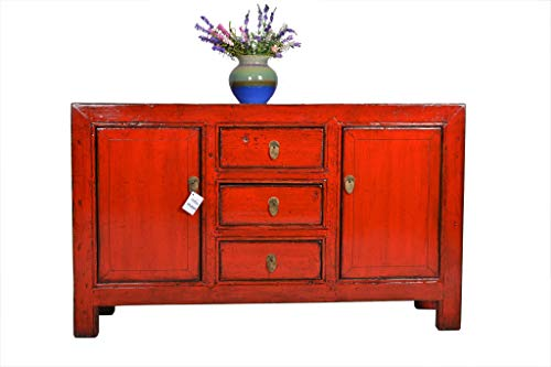 Fine Asianliving Antiek Chinees Dressoir Rood 3 lades - Gansu, China