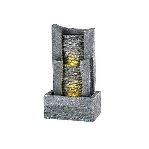 Kaemingk 894266 LED Wandbrunnen 61 cm Polyresin Grau Wasserbrunnen Zimmerbrunnen Gartenbrunnen mit LED Licht