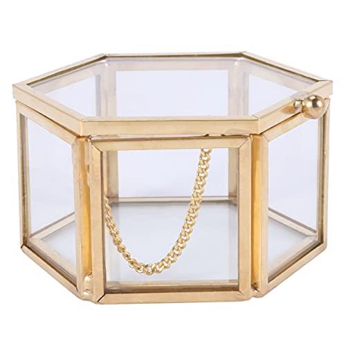 MLXG Sechseckiger Ring aus Glas, transparent, für Hochzeit, geometrisch, für Schmuck, Esstisch, Aufbewahrung von Schmuck zu Hause