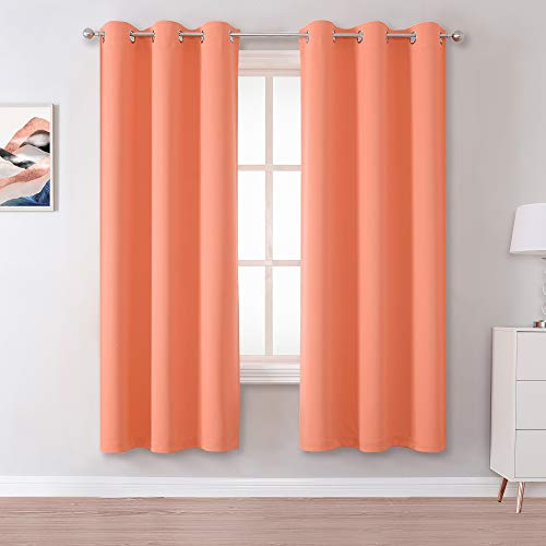 Light Coral Curtains 63 Inches Long 2 Panels Set Solid Thermal Insulated Grommet Room Darkening Window Curtain Panels for Living Room 42 W x 63 L Inch Peach Coral