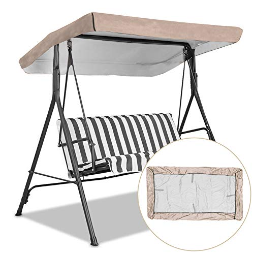 Replacement Canopy for Swing, Outdoor Swing Canopy Replacement Porch Top Cover Seat Furniture 3 Seater Waterproof Top Cover for Patio Swing (191 X 120cm)