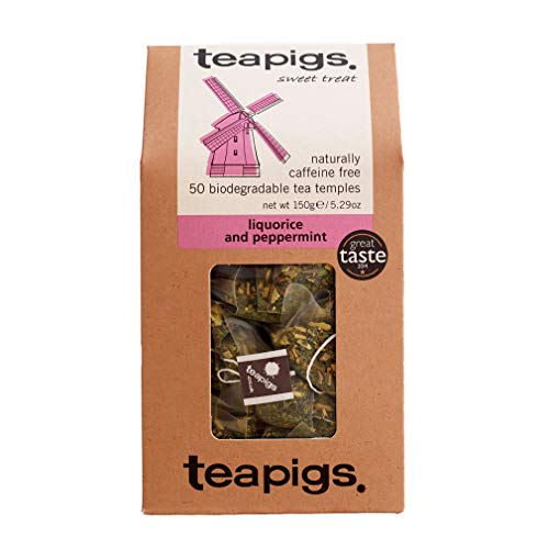 Teapigs Liquorice & Peppermint Herbal Tea Made With Whole Leaves (1 Pack of 50 Teabags)