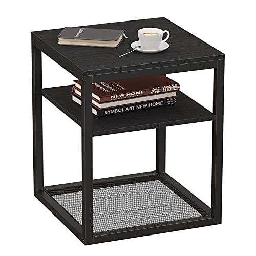 WINHOME Schwarzer Nachttisch im Industrie-Stil, mit feinerem, mattschwarzem, mattiertem Metallrahmen und Holzbrett mit exquisiter Maserung.