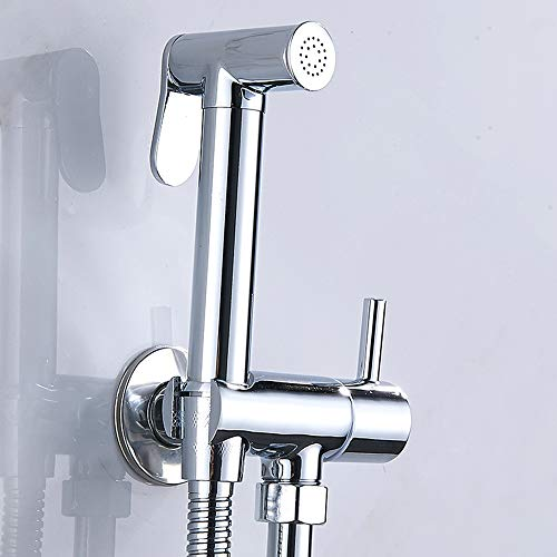 Set Handbrause, WC, Thermostat, Wandmontage, Drucksprüher aus Chrom-Lation, Verbrennungsschutz, Toilette, Bidet Handbrause für die Intimhygiene