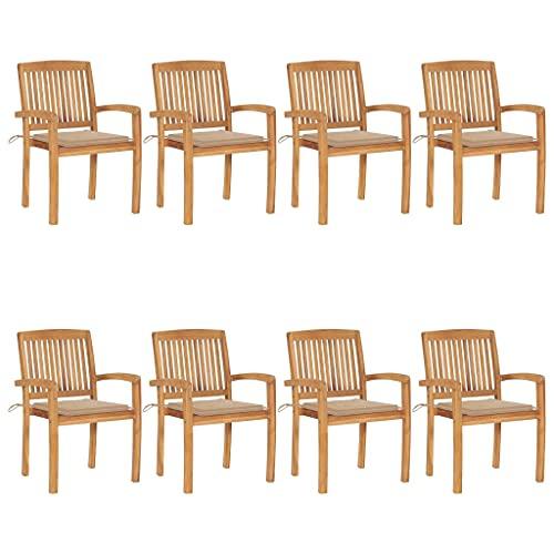 vidaXL 8 sedie da giardino in legno di teak, impilabili, con cuscini, per patio, terrazza, balcone, mobili da esterno, resistenti con schienale