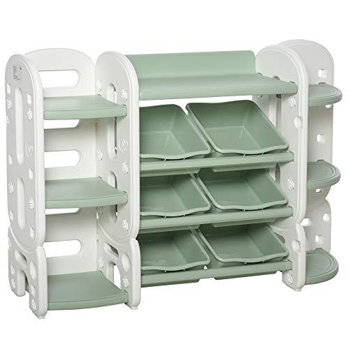 homcom Scaffale Portagiochi Componibile con 6 Cesti Estraibili e 7 Mensole per Cameretta Bambini o Asilo, Verde e Bianco