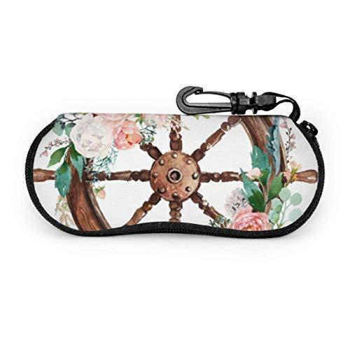 Acuarela dibujada a mano náutica marina floral enferma estuche para anteojos suave estuche para múltiples lentes Estuche ligero portátil estuche para anteojos para jóvenes