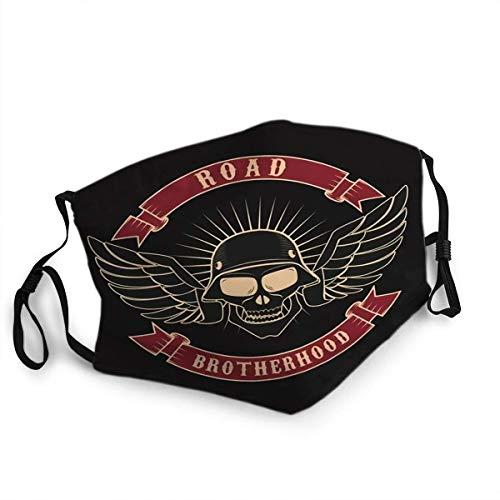 Decoración facial Anit Shield Road Brotherhood Skull en casco de motocicleta y gafas en Grunge Design Element