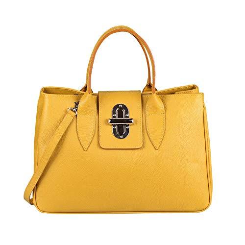 OBC Made in Italy Damen Echt Leder Tasche Business Shopper Aktentasche Schultertasche Handtasche Ledertasche Umhängetasche Tote Bag (Gelb)