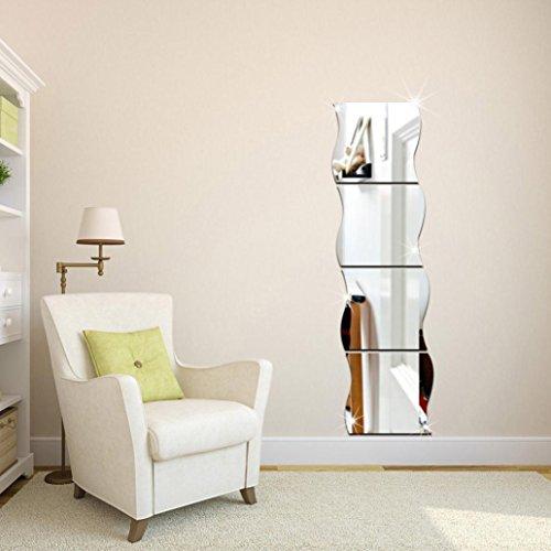 Mamum - 1Pcs Miroir de Mur Carrée Autocollant Motif de Vagues d'Argent Murales de Style Chambre d'enfant Décoration