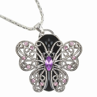 D-CLICK TM High Quality 4GB/8GB/16GB/32GB/64GB/Cool Shape USB High speed Flash Memory Stick Pen Drive Disk (16GB, Butterfly Necklace)