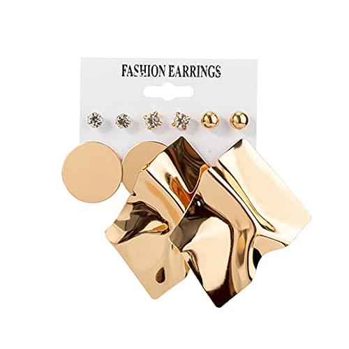 12 par / set de pendientes de mujer Set de pendientes de botón para mujer joyería Vintage geométrica cristal perla Pendientes-Set 20