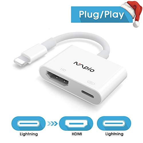 HDMI-adapter voor iPhone iPad, MPIO iPhone naar tv HDMI-kabel, 1080P Digitale AV-adapter HDTV-kabel voor iPhone 11, XR, X, 8, 7, 6, iPad Air, Mini, Pro, iPod Touch Wit(Ondersteuning IOS 9-13 of later)