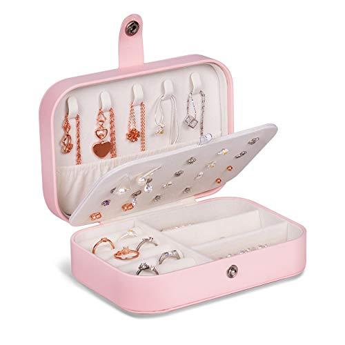JOYUE Joyero Pequeña, Joyero portátil de Viaje para Mujer, Jewelry Organizer para Anillos Aretes Pendientes Pulseras y Collares, 16,5 x 11,5 x 5,5 cm (Rosado)