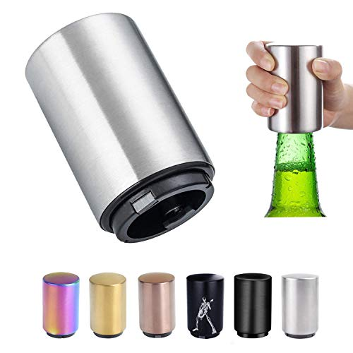 Abridor de botellas de cerveza de acero inoxidable con cierre magnético automático para abrir botellas de cerveza, regalos de cerveza para hombres, utensilios de cocina (plata)