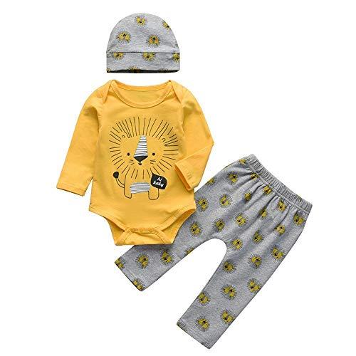 AOQW Conjunto De Ropa De 3 Piezas para Bebés Nacidos, Camiseta De Manga Larga De Algodón con Estampado De Nubes, Pantalón De Color Sólido Informal, Sombrero, Ropa Infantil, Trajes-Red_24M