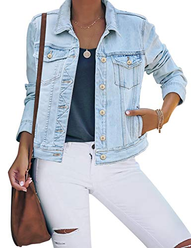 luvamia Women's Casual Basic Button Down Stretch Regular Fit Long Sleeves Denim Jean Jacket Light Blue Size X-Large