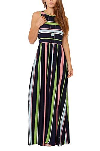 Vestito a Righe Verticali Donna Caftano Boho Chic Abito Lungo Senza Maniche Vintage Swing Vestiti...
