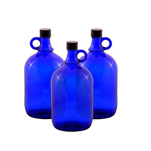 LGL Haushaltswaren Glasballonflasche/BLAU/Gallone / 2 Liter oder 5 Liter (3 x 2 Liter)